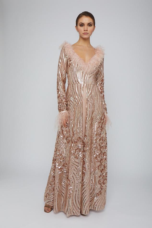 Antique-pink embellished gown