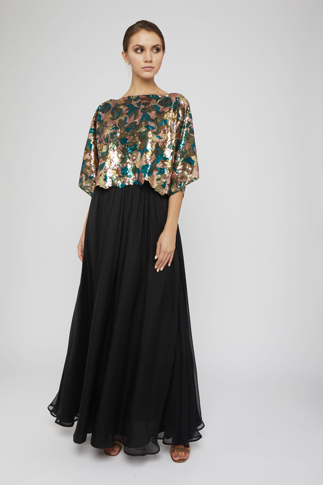 Classic gown with sequined cape