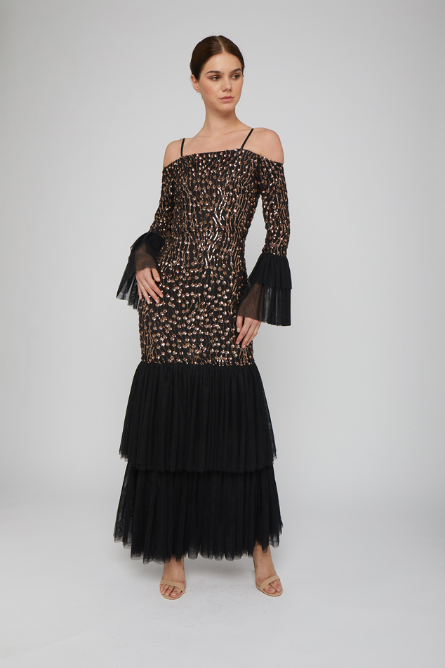 Off-the-shoulder tiered gown