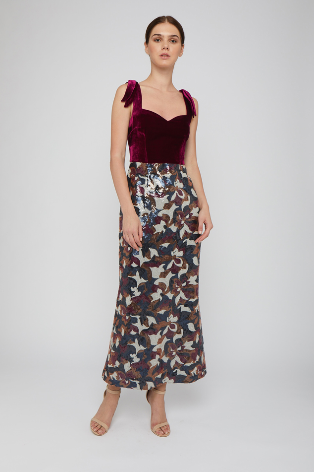Velvet and sequined column gown