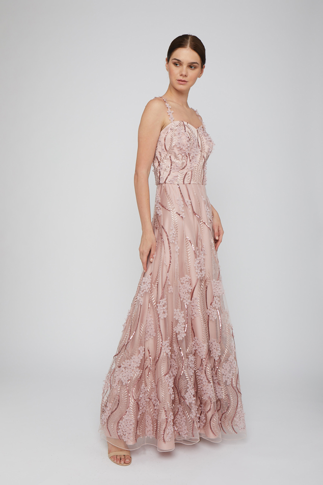 Embellished Gown with Floral Appliqués