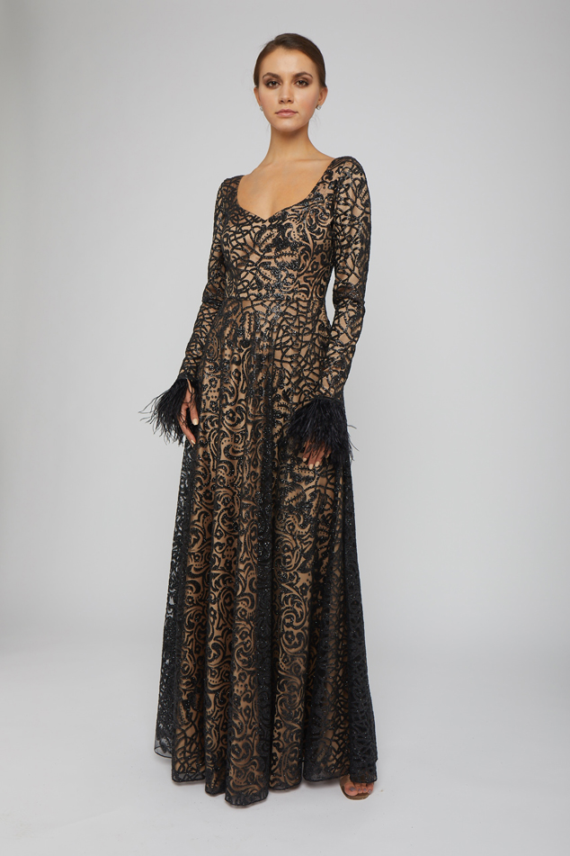 Long-Sleeve Embroidered Gown with Feathered Cuff