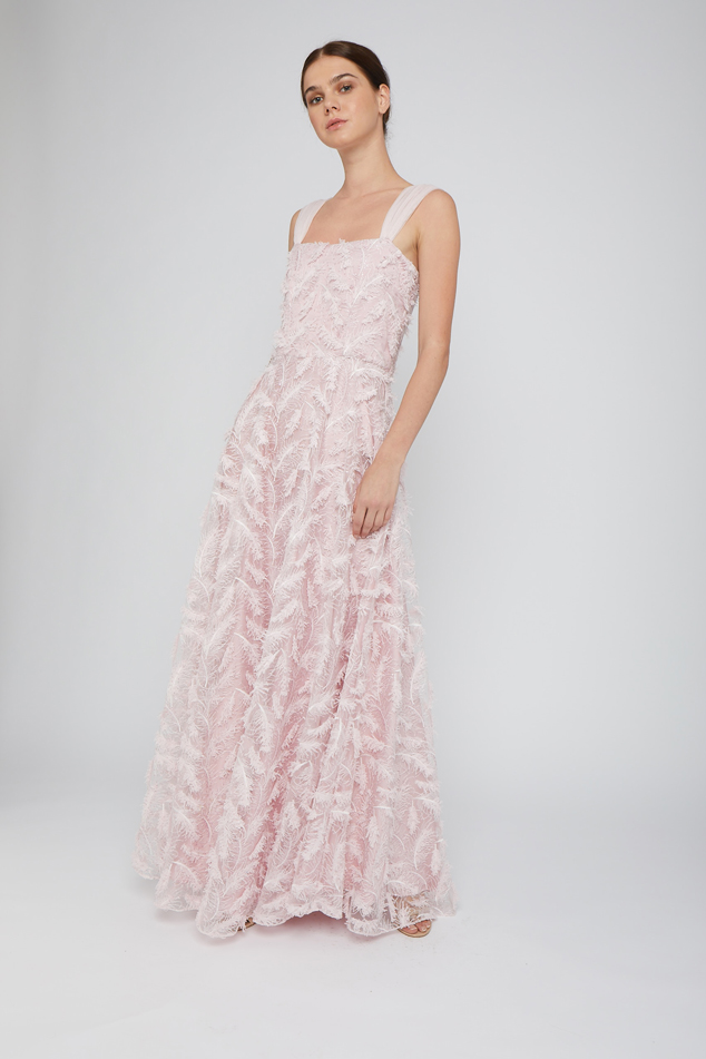Pink Sleeveless Embroidered Gown