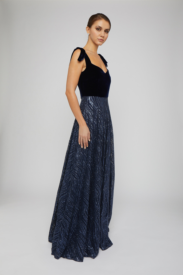 Velvet and Embroidered Navy Gown