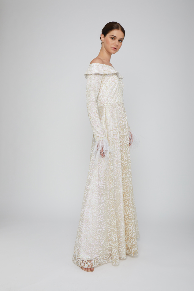 White Long-Sleeve Embroidered Gown