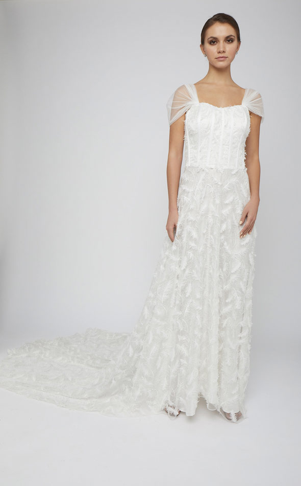 Sleeveless Corseted Gown with Train